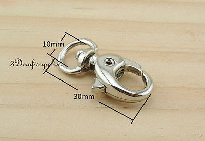 Lobster Clasps Clips Claw purse hooks Swivel snap hook nickel 10 mm 10pcs AT49