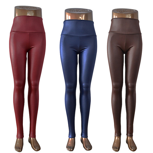 Free shipping 2020 New Fashion women's Sexy Skinny Faux Leather High Waist Leggings Pants XS/S/M/L/XL 22 colors