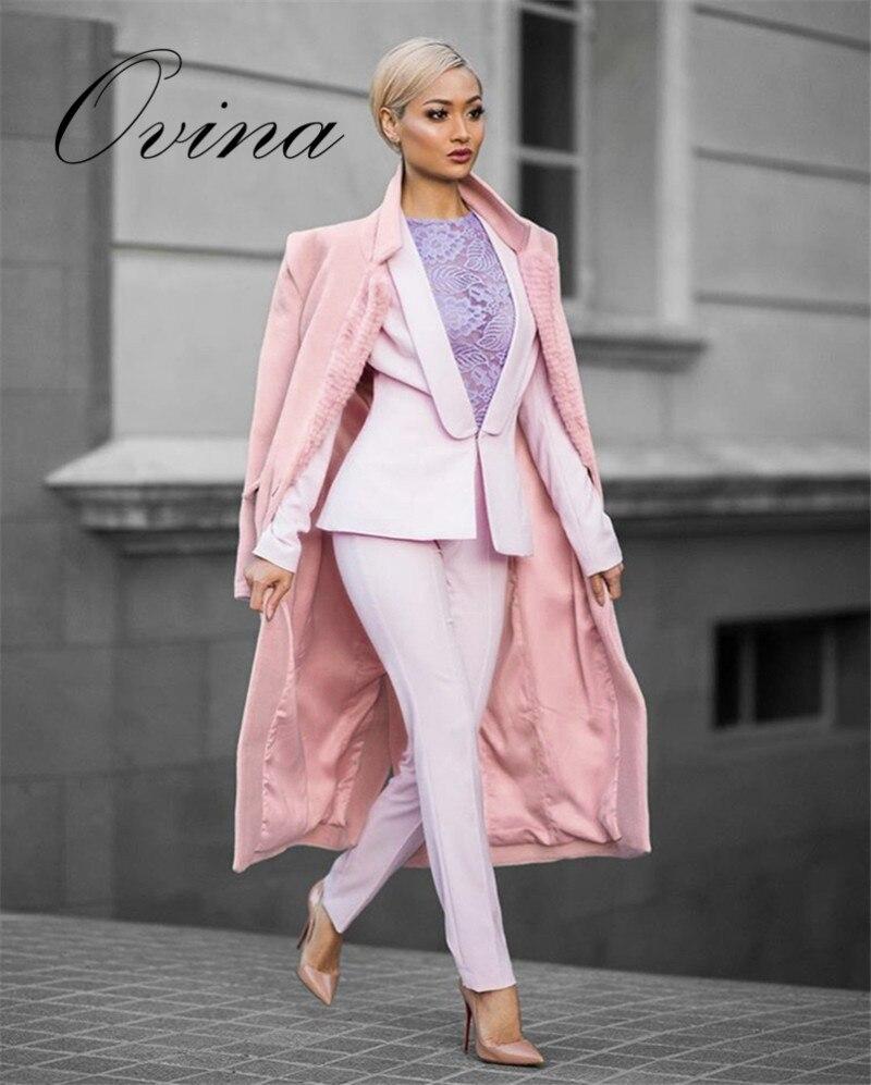 Haute qualité célébrité à manches longues rose hiver chaud moulante mode femmes manteaux vêtements d'extérieur