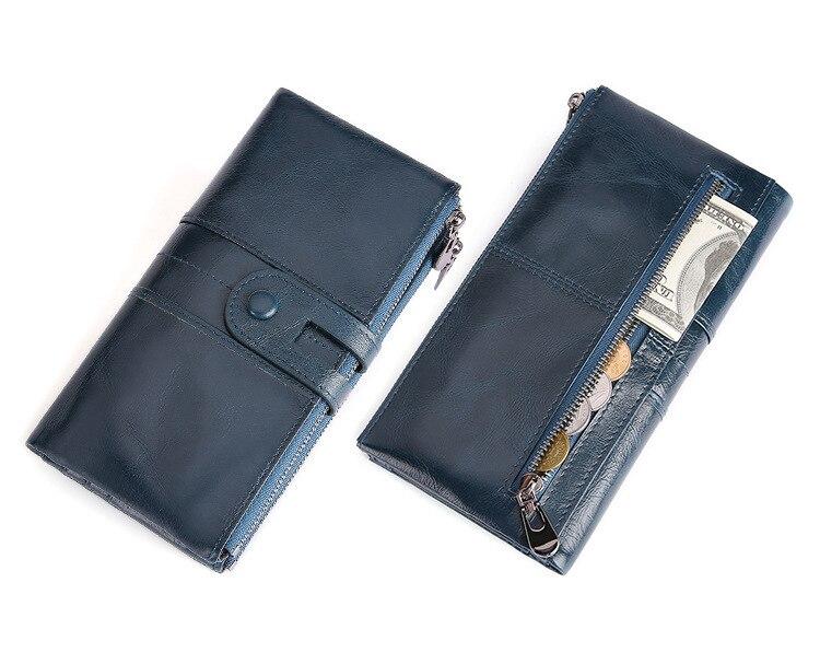 XIYUAN en cuir véritable femmes kaki/noir portefeuille femme longue embrayage dame Walet marque de luxe argent sac magique Zipper porte-monnaie