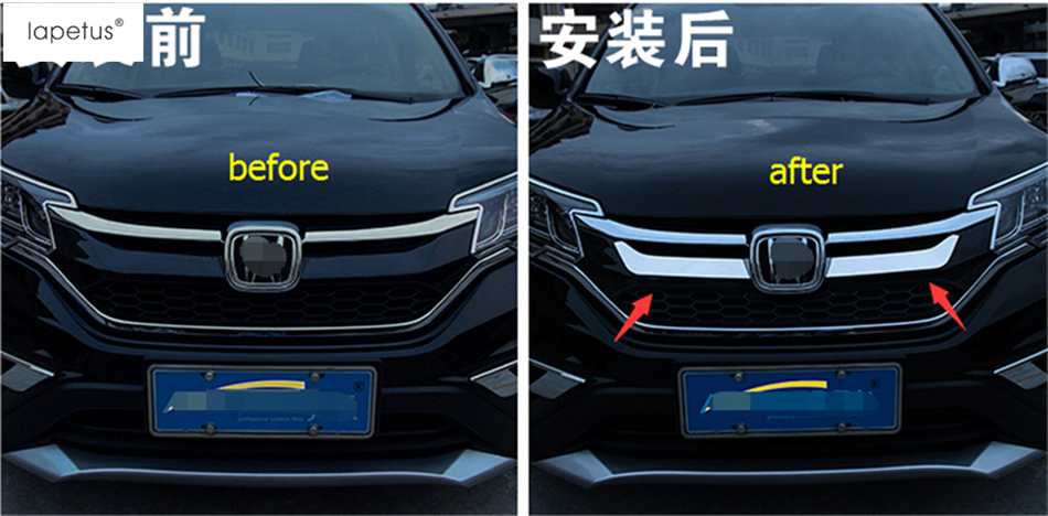 Stainless Steel ! Accessories For Honda CRV CR-V 2015 2016 Front Grille Grill Engine Lid Decoration Molding Cover Kit Trim 2 PCS