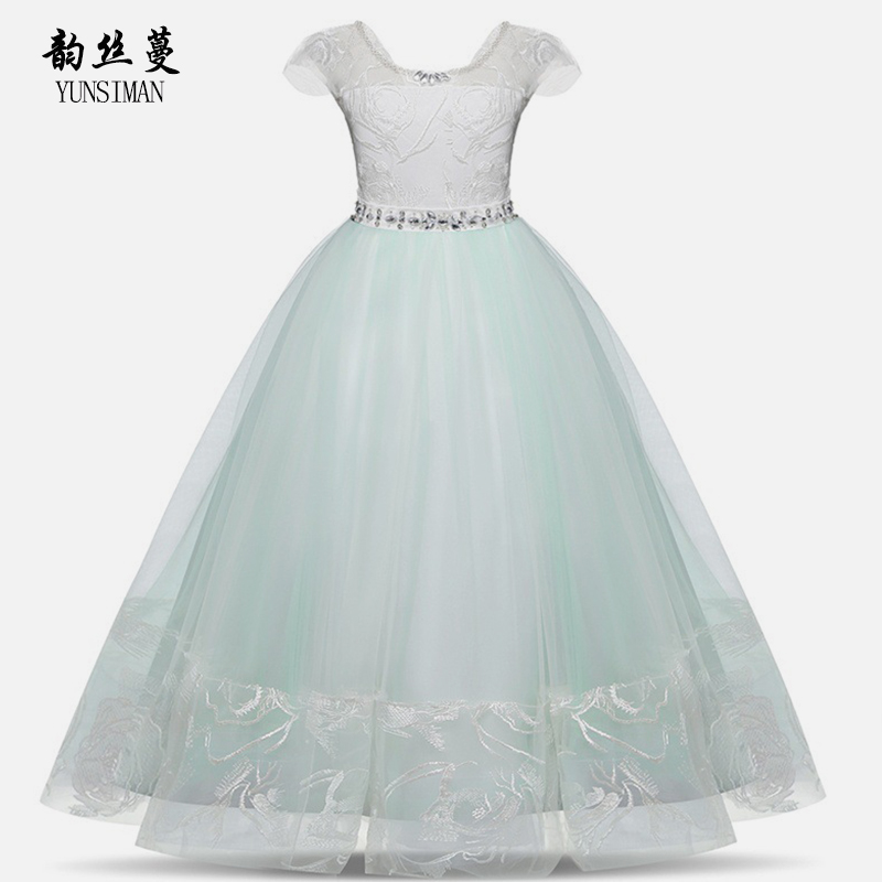 8 - 16 Years Big Girls Long Dresses Light Green Lace Mesh Party Frocks for Girls Clothes Kids Plus Size Christmas Dress 2O05A