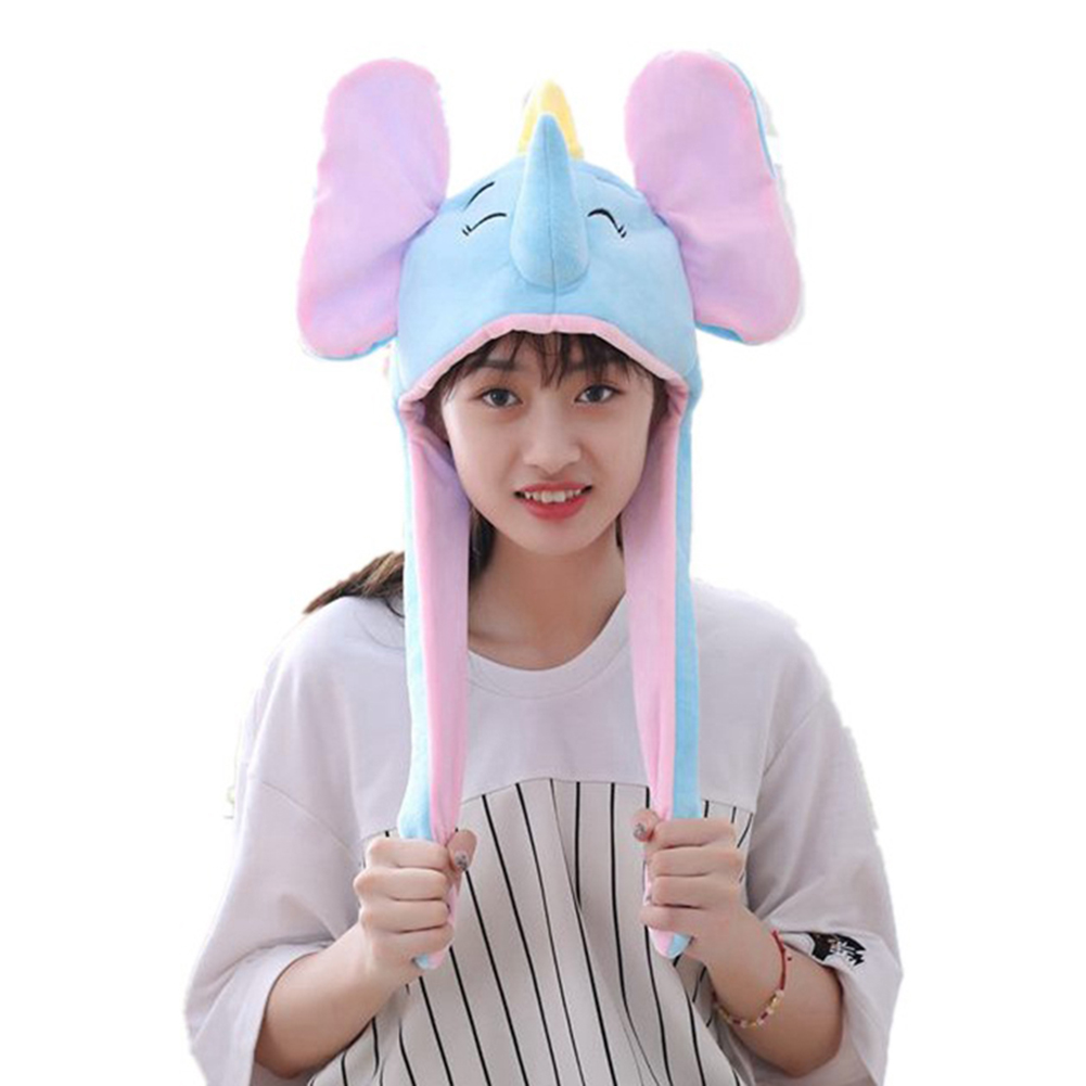 Cute Elephant Hat Moving Ears Cartoon Toy Hat Airbag Kawaii Funny Toy Cap Kids Plush Toy Hat Birthday Gift