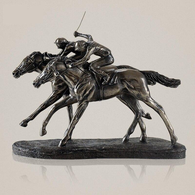 Классический Скачки Скульптура ручной смолы и Медь Jockey статуя спорта Memento украшения присутствуют Книги по искусству и Craft Орнамент
