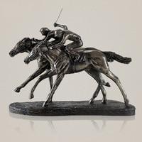 Classic Horse Racing Sculpture Handmade Resin and Copper Jockey Statue Sports Memento Decoration Present Art and Craft Ornament