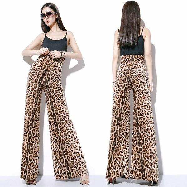 Plus Size Flared Baggy Trousers Printed Women's Stretchy Wide Leg Bell Bottom Palazzo Lounge Pants trousers leopard  flare beach