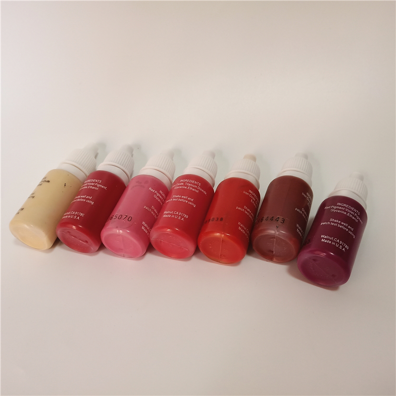 7pcs permanent makeup pigment micropigment tattoo ink 15ml bottle cosmetic manual red pink colors for lip