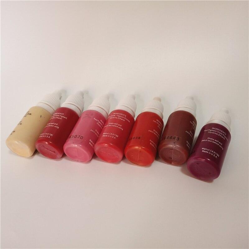 7 piezas de maquillaje permanente pigmento micropigmento tatuaje tinta 15 ml/botella cosmética manual rojo rosa colores para labios-in Tintas de tatuaje from Belleza y salud on AliExpress - 11.11_Double 11_Singles' Day 1
