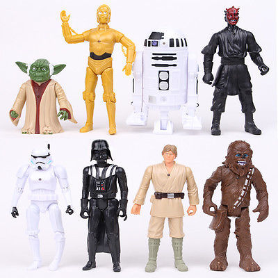 Baby Cartoon 8PCS Set Star Wars Darth Maul Darth Vader Stormtrooper Dolls Kids Baby Gift Classic Collection Action Figure Toys