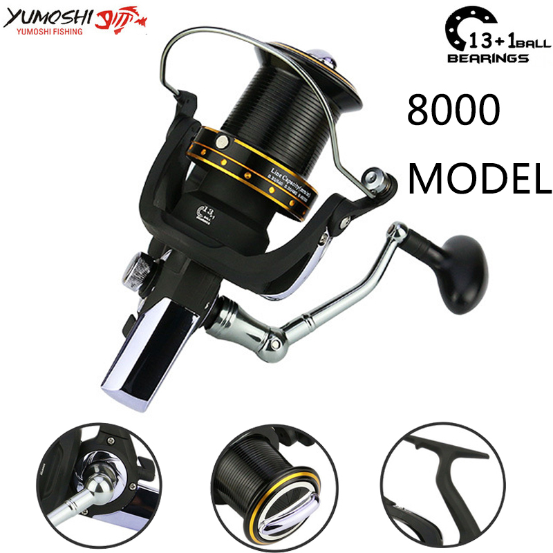 Yumoshi 1000-7000 12+1ball bearing 5.5:1 trolls Carp Reel Feeder Metal Spinning Fishing Reels (8000) image