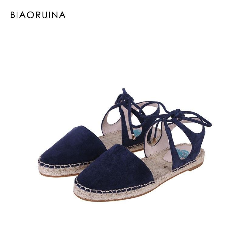 BIAORUINA Summer Sandals Women Casual Solid Shallow Back Strap Cross tied Shoe Flat Sandals Handmade Hemp