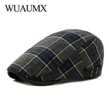 Wuaumx Englad Style Berets Hat Men Women Retro Cabbie Newsboy Ivy Caps Visors Autumn Winter Beret Cap Plaid Herringbone Flat