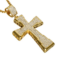 Hip Hop Iced Out Gold Cross Necklace Stainless Steel Full Paving Micro CZ Crucifix Pendants Necklaces Men Religion Jewelry