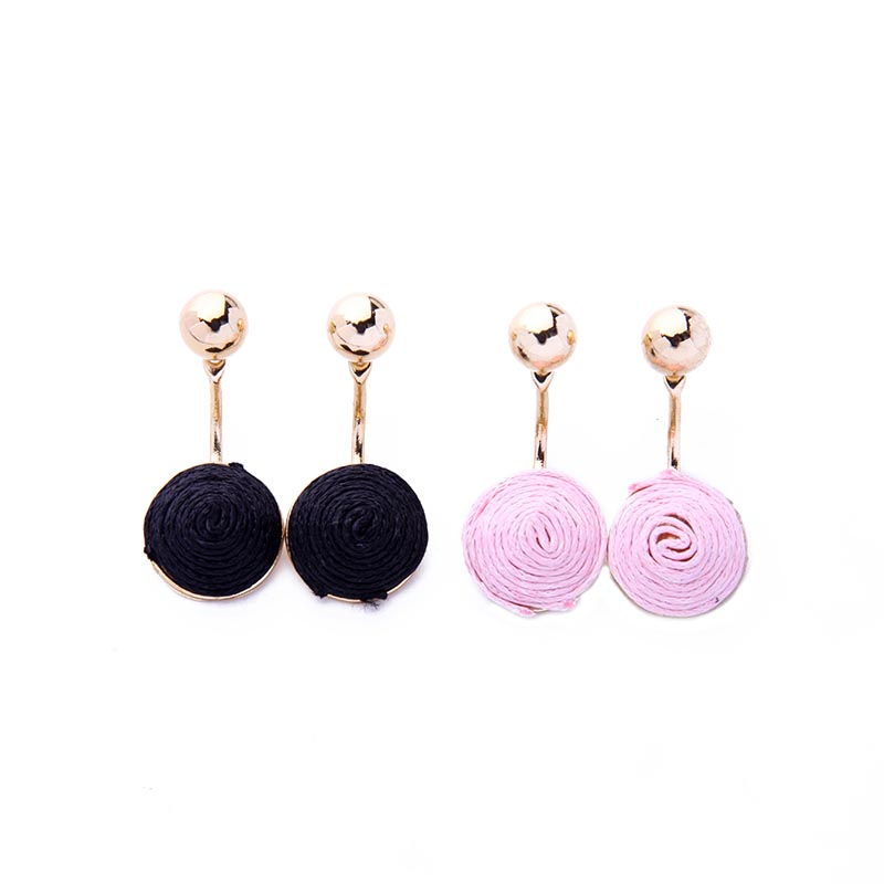 2 Colors Pink & Black Ethnic Earrings Jackets Fashion Wax Thread Weaved Women Earrings Gift Jewelry Brincos