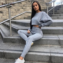 Joyfunear Sweater Sleeve Pullover Top High Waist Pants Tracksuit For Women Sexy Two Piece Set Women Solid Knitted Suit Feeme(China)