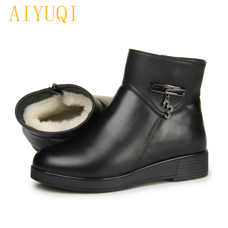 AIYUQI Mother flat snow boots female 2018 new genuine leather women ankle boots, big size 35-43 thick warm wool boots shoes aiyuqi big size 42 100% natural genuine leather female flat shoes 2018 spring new ladies shoes comfortable nurse shoes female