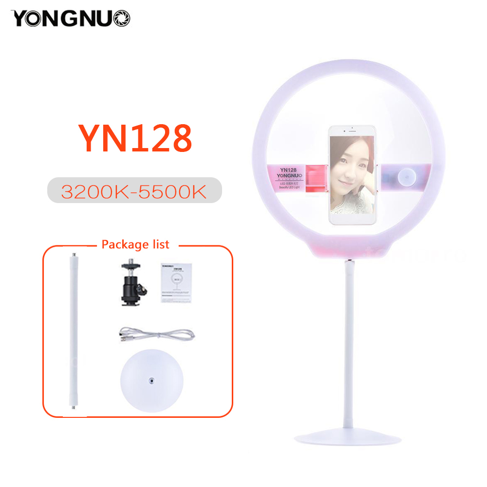 YONGNUO Selfie Ring Light YN128 for iphone Dimmable 128pcs Bi-color 3200-5500K Video Studio Lamp for Canon DSLR iPhone XSYONGNUO Selfie Ring Light YN128 for iphone Dimmable 128pcs Bi-color 3200-5500K Video Studio Lamp for Canon DSLR iPhone XS