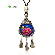 Women maxi necklaces&pendants Blue lotus flower fringe bohemian choker collar ethnic 2017 female BOHO jewelry embroidery hippie  kyqiao mexican style ethnic vintage black blue embroidery flowers bandanas 2017 women winter original hippie hat free shipping
