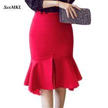S-5XL, женские юбки,, модные, эластичные, элегантные, сексуальные, высокая талия, юбка, тонкая, для офиса, леди, официальная, зимняя, красная, юбка-карандаш размера плюс