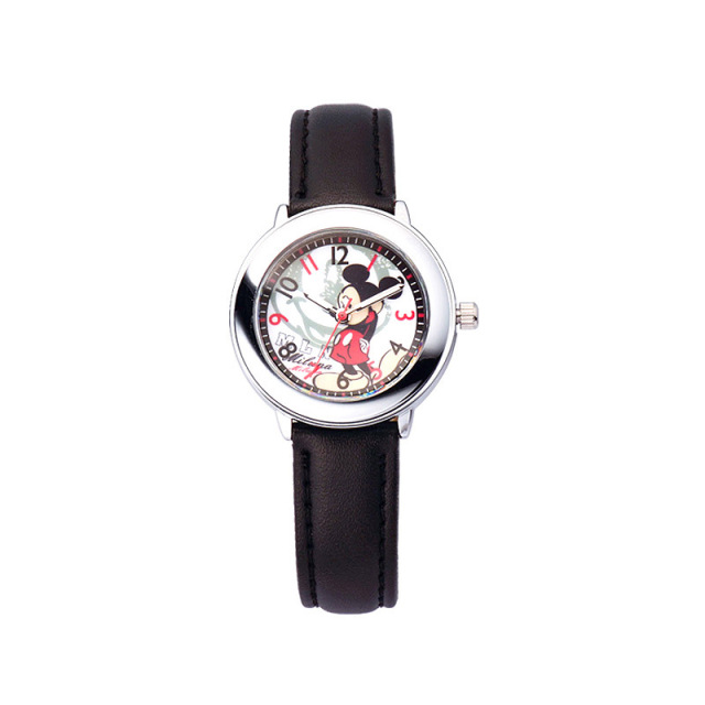 Children girls boys Quartz wristwatches Disney brands Mickey mouse kids Boy girl leather  Cartoon student watches clocks