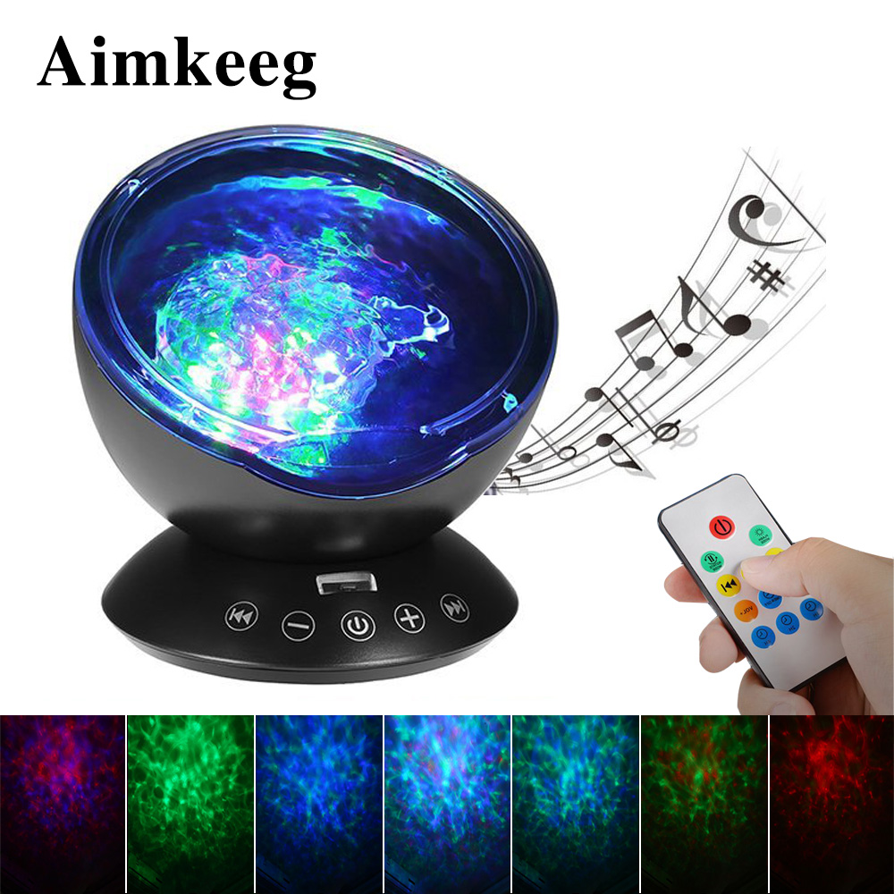 Aimkeeg Remote Control Ocean Wave Projector Starry Sky LED Night Light Luminaria Novelty Lamp  USB TF Cards Music Player Speaker