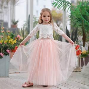 Image 1 - 2019 봄 여름 세트 여자 하프 슬리브 레이스 탑 + 샴페인 핑크 롱 스커트 아동복 0 10T E17121