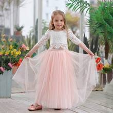 2019 Spring Summer Set Clothing for Girls Half Sleeve Lace Top+Champagne Pink Long Skirt Kids Clothes 0 10T E17121