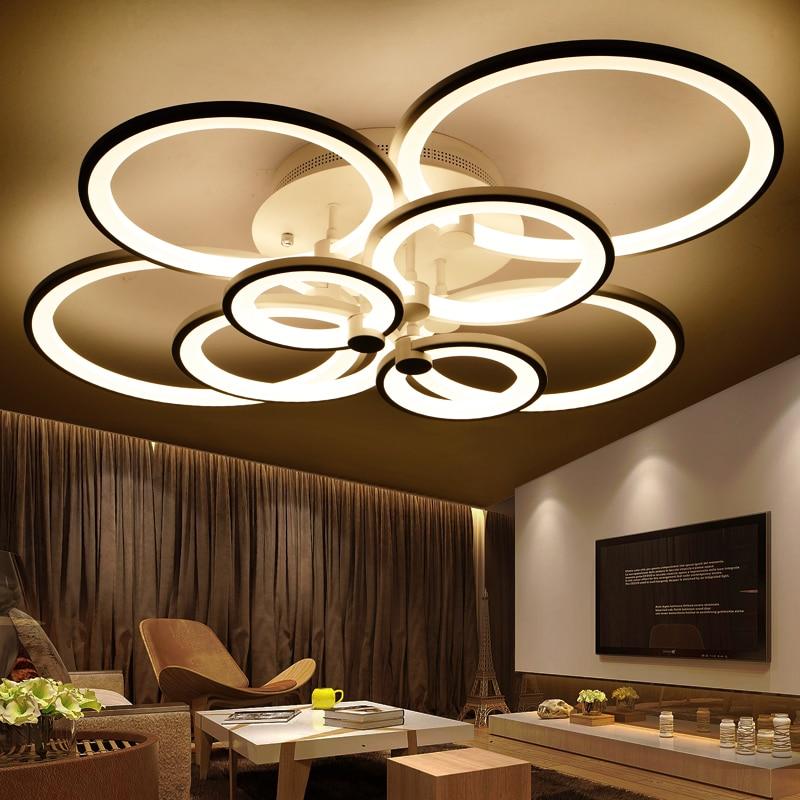 Кольца Белый закончил люстры СВЕТОДИОДНЫЙ круг современная люстра светильники для гостиной акрил Lampara де TECHO внутреннего освещения