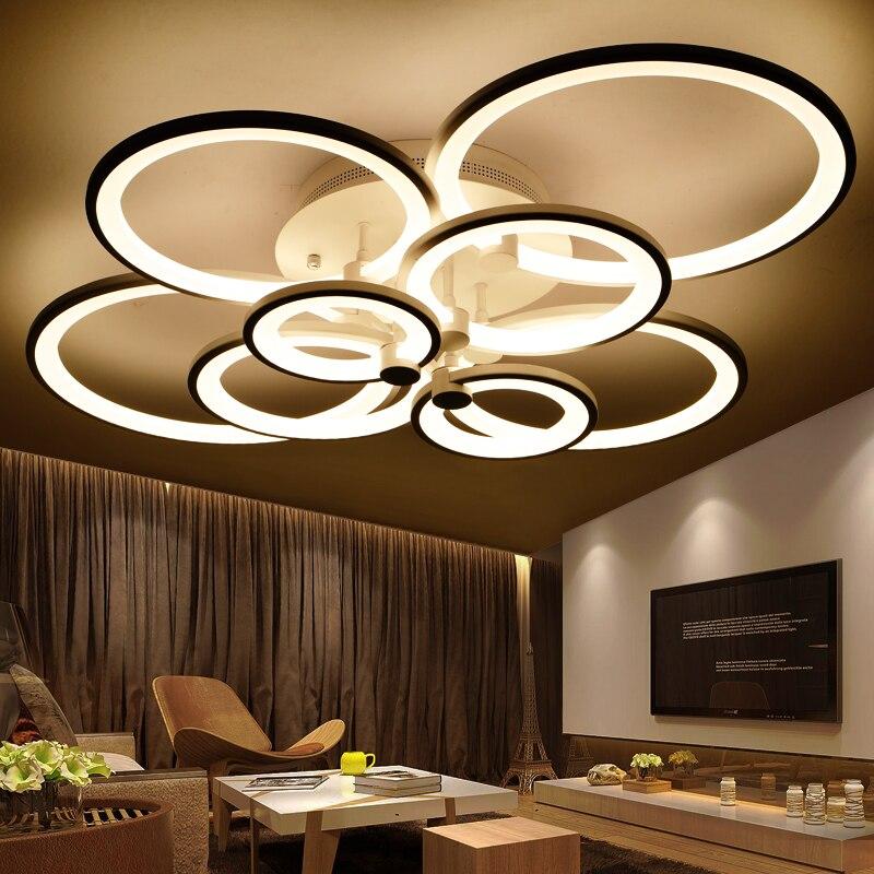 Ringe Weiß Kronleuchter LED Kreis Moderne Kronleuchter Lichter Für  Wohnzimmer Acryl Lampara De Techo Innenbeleuchtung