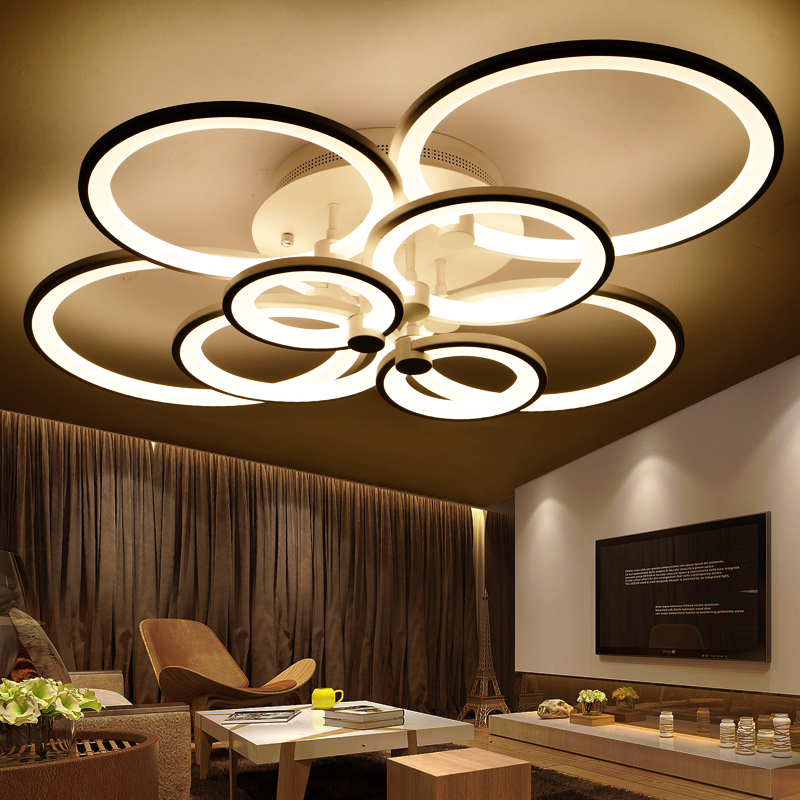 rings white finished <font><b>chandeliers</b></font> LED circle modern <font><b>chandelier</b></font> <font><b>lights</b></font> for living room acrylic Lampara de techo indoor Lighting