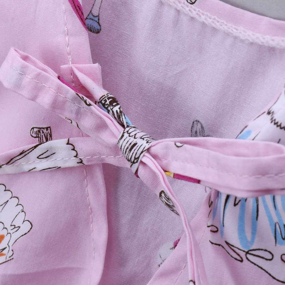 פעוט ילדים שמלות בנות כותנה מזדמנים צמרות לב הדפסת Bowknot קיץ אופנה תינוק בנות נסיכת שמלה קיצית חולצות