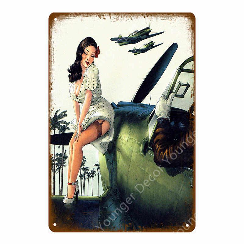 Соблазнительная девушка Автомобиль Мотоцикл самолет с булавки для нижнего белья из металла наклейки в ретро стиле Винтаж плакат живопись крафтовый Паб Бар домашний Настенный декор