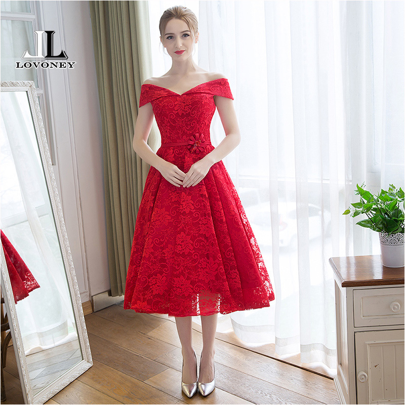 LOVONEY M114 Sexy V-Neck Red Short   Prom     Dresses   2019 New Design Tea-Length Lace   Prom     Dress   Formal Party Gown Robe De Soiree