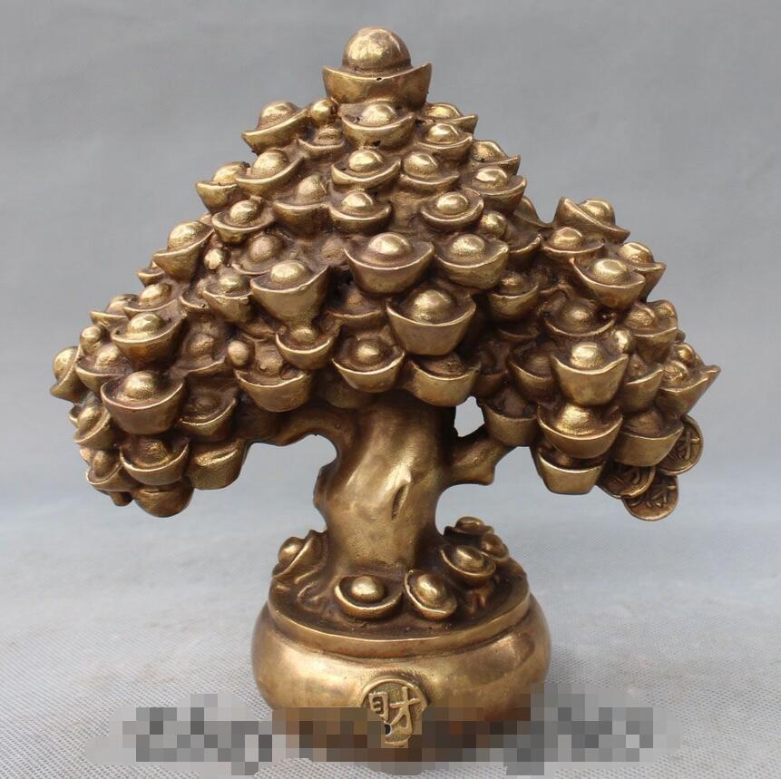 8 Chinesische Feng Shui Reichtum Geld YuanBao Schtteln Qian Shu Baum StatueChina