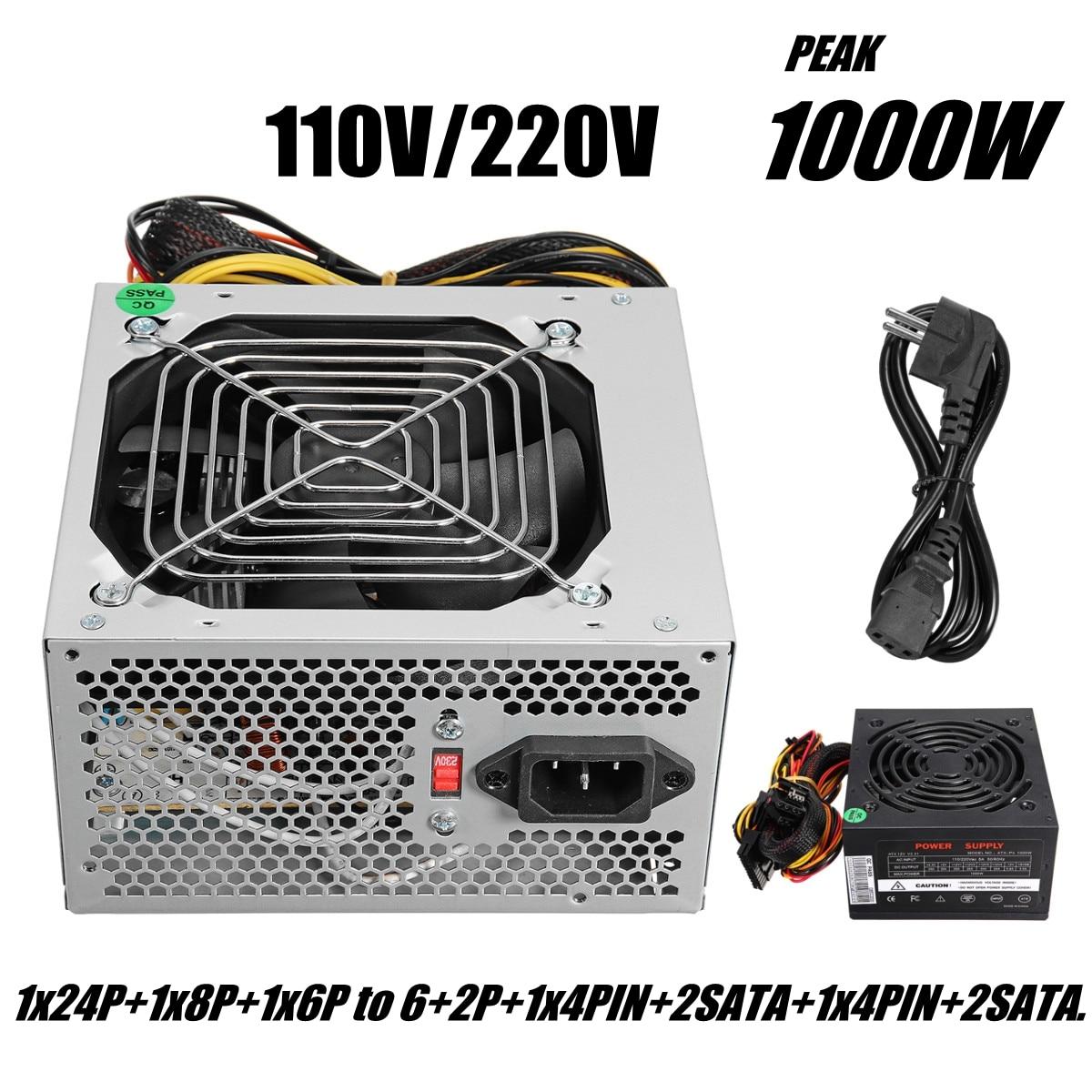 Max 1000W ATX Power Supply Quiet Fan For Intel AMD PC PSU PC Computer Miner 400w desktop power supply max 500w psu quiet power switching 12v atx btc sata power supply computer chassis for intel amd pc