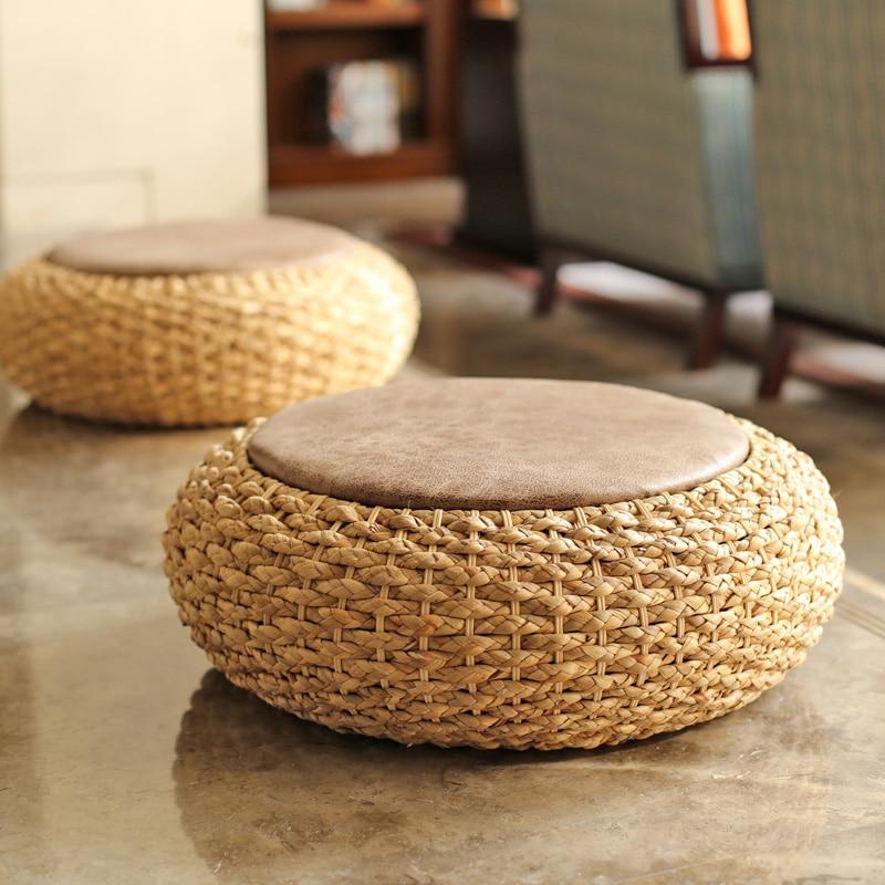Fine Us 48 92 20 Off Modern Knitted Round Pouf Ottoman Stool Pu Leather Seat Pad Floor Yoga Meditation Cushion Straw Rusitc Tatami Pouf Furniture In Machost Co Dining Chair Design Ideas Machostcouk