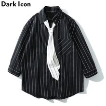 Dark Icon Striped Shirt with Tie 2019 Summer New Fashion Oversized Mens Shirts Front Pocket Loose for Men US size  Black