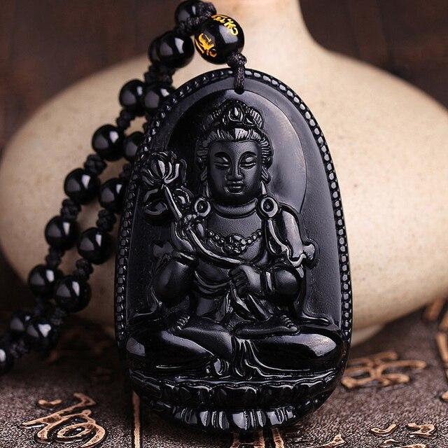 Pendentif Jade Noir Bouddhiste