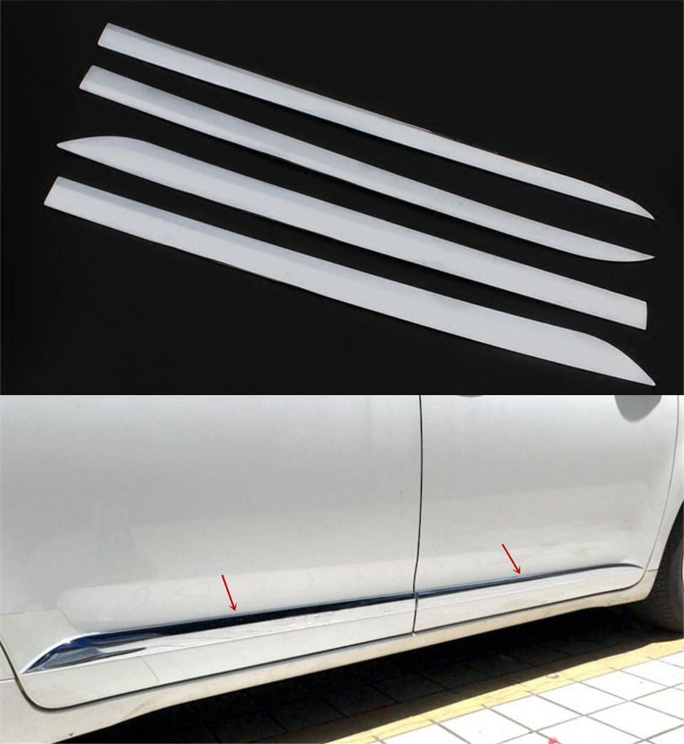 4pcs ABS Chrome Car Side Door Body Molding Cover Trim For Toyota Sienna (XL30) 2011-2016