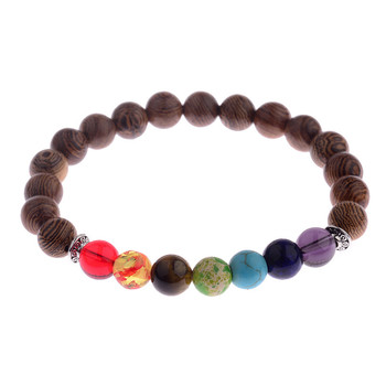 Elastic Natural Wood Beads Bracelet Bracelets Jewelry New Arrivals Women Jewelry Metal Color: 002-3