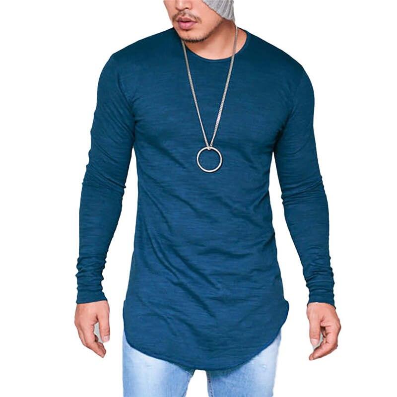 Cruve Arc Hem Extend Hip Hop Street Men T-shirt Casual Fashion Men Summer Autumn Long Sleeve T Shirts Hipster Oversize Tops Tee