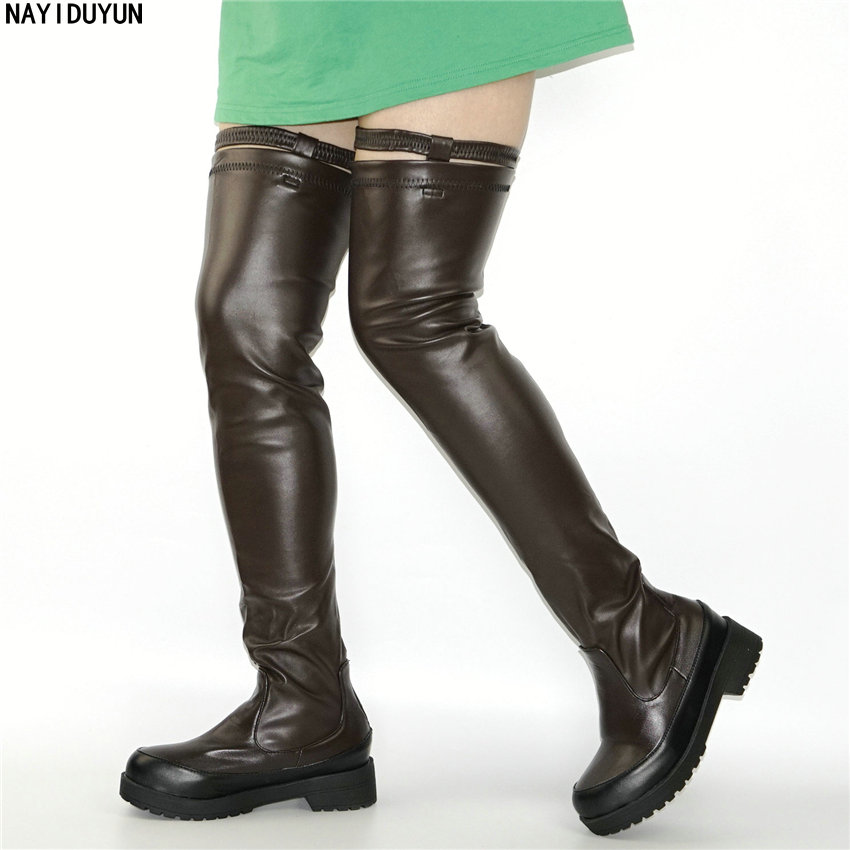 NAYIDUYUN  Hot Thigh High Boots Women Black Coffee Over The Knee Sneakers Med Heel Tall Shaft Punk Greepers Riding Party Oxfords nayiduyun new thigh high shoes women wedge slip on over the knee boots high heel punk sneaker oxfords platform riding greepers