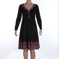 Women Long Sleeve Winter Autumn Plus Large Size 4xl 5xl 6xl Vintage National Geometric Print Robe