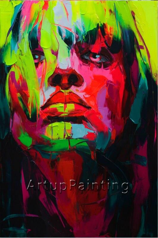 Portrét paletového nože portrét Paletový nůž tvář Olejomalba Impasto obrázek na plátně Ručně malované Francoise Nielly 10