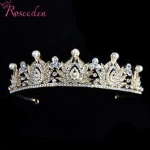 Crystal Bridal Crown Tiaras For Women Wedding Hair Accessories Silver Gold Crowns Diadem Headbands Jewelry RE3240 цены