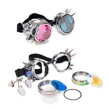 FLORATA – lunettes de soleil Kaleidoscope à deux couleurs, lunettes de soleil EDM à lentilles séparées, lunettes Steampunk