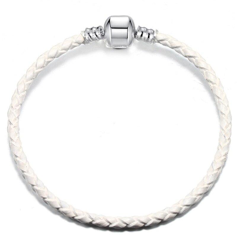 BAOPON, Прямая поставка, высокое качество, 9 цветов, кожаная цепочка, браслеты с подвесками, сделай сам, прекрасный браслет для женщин, девушек, ювелирное изделие, подарок - Окраска металла: White-1