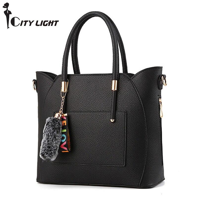 Fashion Fur ball pendant Women Shoulder Bags Large Capacity Casual PU Leather Women Handbag Zipper Crossbody Bags for Women