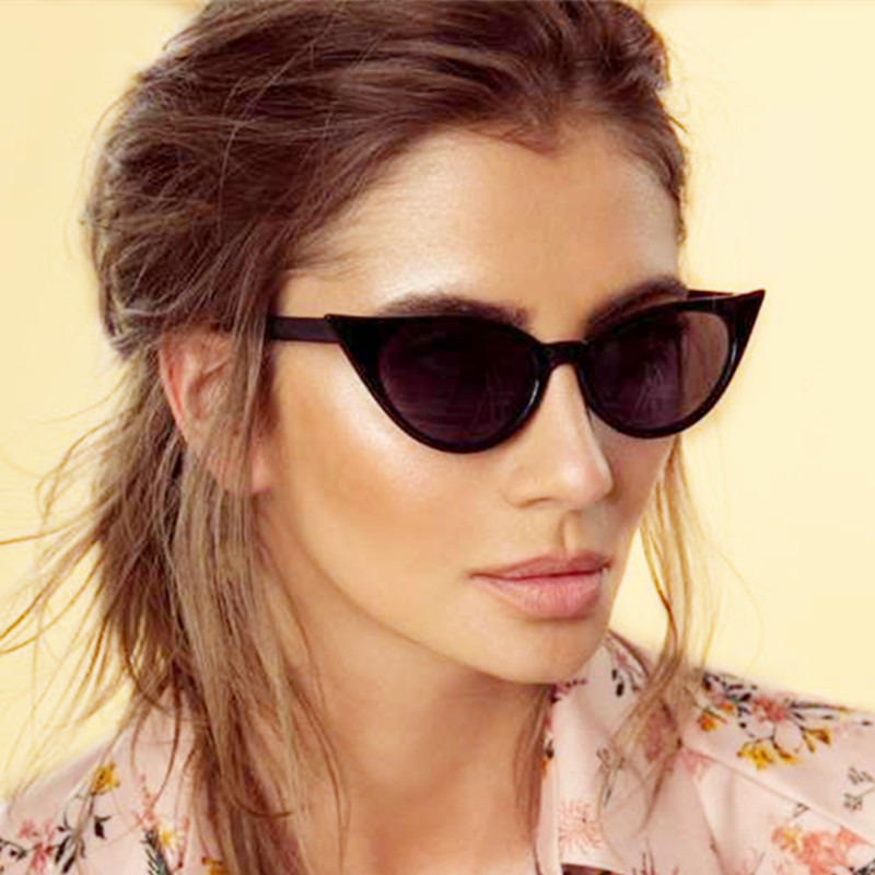 b1b513224efa 2018 Women Small Cat Eye Sunglasses Red Frame Women Brand Designer Ladies  Sun glasses Vintage Sexy Black Red Eyewear Shade UV400-in Sunglasses from  Women's ...