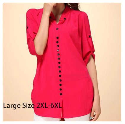 4c689a66407107 2018 Plus Size camisa feminina Slim Loose Casual Shirt Large Size Women  Clothing Sheer Blouses Xxxxl